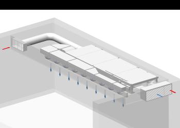 Decentralised school ventilation unit  FVS-1000 Eco2School <br>ceiling installation